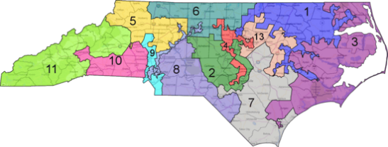 map - North Carolina districts - gerrymandered.png