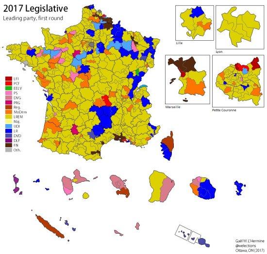 map - France legislative 2017 round 1