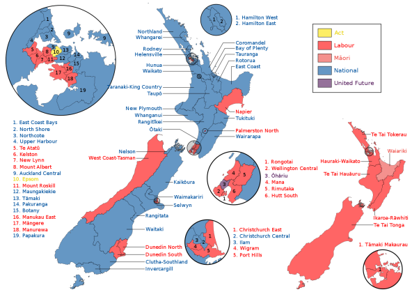 graphic - New Zealand election map 2014